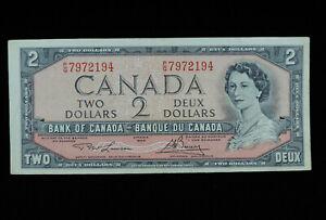 1954 $2 Dollar Bank of Canada Banknote Bill P/G 7972194 Lawson Bouey EF Grade