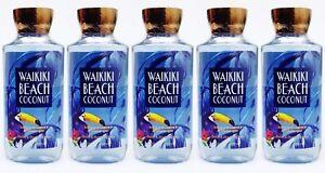 5 Bath & Body Works WAIKIKI BEACH COCONUT Body Wash Shower Gel 10 oz