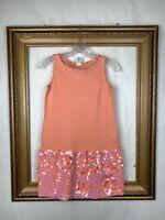 Crewcuts 14 Girls Pink Orange Sequin Dress Sleeveless Summer Spring Kids J Crew