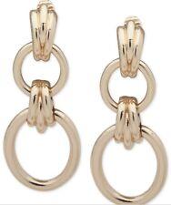"Anne Klein Gold Tone Clip on Tubular Hoop Double Drop 2-1/4"" Earrings Q15"