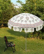 Indian Beach Garden Umbrella Cotton Large Patio Sun Shade Parasol Floral Decor