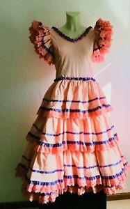 Bust 88 cm: Girls PINK Vintage Authentic Flamenco Gypsy Dress Frida Feria Gitana