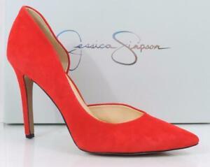 Jessica Simpson CLAUDETTE D'Orsay Dress Pumps Heels Lipstick Red Suede Size 10