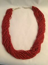 OLD NATIVE AMERICAN 30 STRAND MEDITERRANEAN RED CORAL NECKLACE