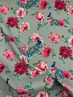 "Silver Grey Peacock & Vintage Floral Printed 100% Cotton Poplin Fabric. 54"" Wide"