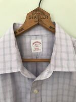 BROOKS BROTHERS Regular Fit Non-Iron Men's Oxford Shirt Purple Plaid Sz 17 2/3