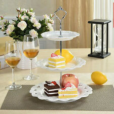 3 Tier Vintage Afternoon Tea Dessert Fruit Cake Stand Plate Wedding Round Tray