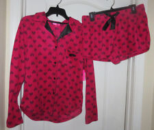 6261aff8ccbda4 Betsey Johnson Red Black Notch Collar Shorty 2 Piece Pajama Set Large NEW   54