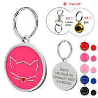 Cat Face Personalised Engraved Tags Dog Cat Pet ID Name Collar Disc Disk 30cm