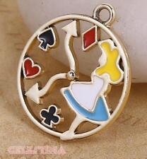 4 Alice in Wonderland Charms-Plaqué or horloge charmes-montre pendentifs