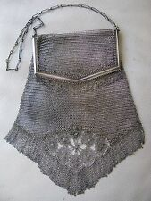 Antique Art Deco Silver Tone  PRINCESS MARY Chain Floral Fringe Mesh Purse W&D
