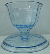 Punch Bowl & Cake Plate Reversible Serving party Set 2pc Blue Glass