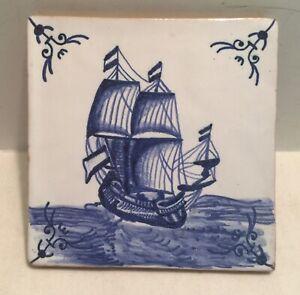 "Vintage Blue & White Conimbriga Portugal Hand Painted Tile Delft 5"""