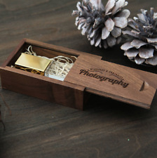 Custom engrave logo Square rose gold sliver crystal usb flash drive + wood box