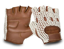 REAL LEATHER DRIVING GLOVES HALF FINGER CAR BUS MOTORBIKE CHAUFFEUR CROCHET BACK