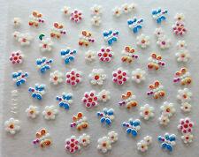 Accessoire ongles:nail art - Stickers autocollants - fleur papillon multicolore