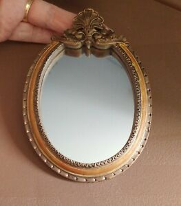 Mini 1:6 Ornate Oval Wall MIRROR Antiqued-Gold Resin Rocaille Flourish Frame