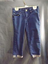 "JUSTICE Cuffed / Capri Denim Jeans Girls Sz 8 R ""Shine Bright"" Royal Blue"