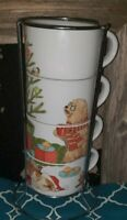 Christmas Morning Pier 1 Park Avenue Puppies Stackable Mugs - Dachshund Used