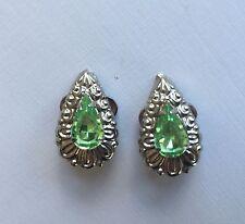 Vintage Earrings -  Clip-on  carved design teardrop center Green Rhinestone