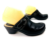 Bass Womens Leona Clogs Mules Size 6.5 Black Leather Slip On Shoes Buckle