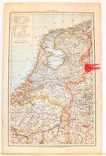 Carta geografica antica PAESI BASSI OLANDA Nederland 1880 Old antique map
