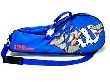 Rare Vtg 90's Retro Wilson Tennis Racket Bag Holds 4 Racquets Blue