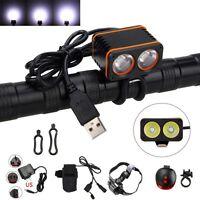 10000LM 2x XM-L T6 LED USB Cycling Bicycle Bike Light Headlight Head Front Lamp