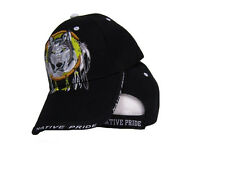 Native American Pride Indian Wolf In Dreamcatcher Black Ball Cap Hat