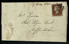4 MARGIN ONE PENNY RED FROM 1d BLACK PLATE 9 ON COVER TO STOKE ON TRENT MAY 1841