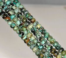 6X4MM AFRICAN TURQUOISE GEMSTONE GREEN RONDELLE DONUT LOOSE BEADS 7.5""