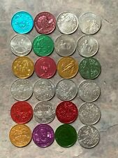 CB2150) USA 1967-89 24 different Mardi Gras coloured tokens. Price: $30
