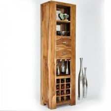 Weinregal braun Massivholz Sheesham Bar Schrank Standregal INDEX LIVING na-02