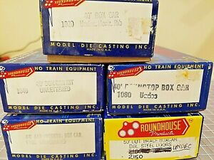 Lot of Five Assorted Roundhouse HO Box Car Kits - Undecorated