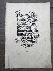 Schedel Weltchronik Schönsperger, Inkunabel 1497 Holzschnitte 20 Seiten Register
