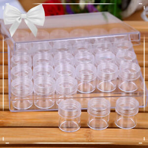 30pc Plastic Craft Hobby Round Clear Container Box Bead Glitter Jar Storage New