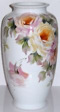 Victorian Hand Painted Milk Glass Vase Large Roses Pink Yellow Signed 15 in Tall
