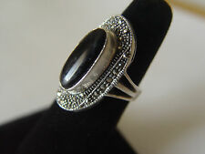 BLACK ONYZ AND MARCASITES STERLING SILVER RING