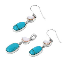 Turquoise & Mother of Pearl Set Sterling Silver 925 Earrings & Pendant Jewelry