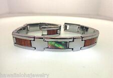 11mm Genuine Hawaiian Koa Wood Paua Abalone Veneer Stainless Steel Link Bracelet