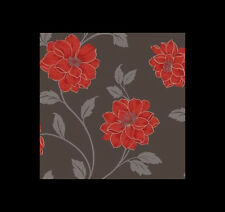 Vintage Camilla Red/Orange Wallpeper. Ser of 3 rolls for feature/accent wall.