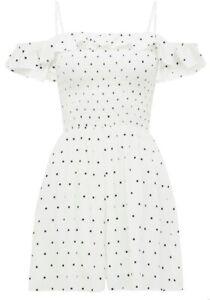 FOREVER NEW White/Black Dots Playsuit Shirred Bodice Sz 14 BNWOT