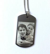 LARGE Personalised Photo/Text Engraved ID Pendant ID Dog Tag Length 22 Inches