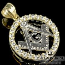 Tone Gold Mini Round Masonic Charm Pendant Men'S Ladies Womnes 10K 100% Real Two