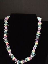 Rainbow Colored Puka Shell Necklace 18 Inches