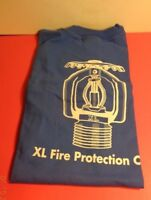 XL FIRE PROTECTION CO ADVERTISING BLUE MENS XXL HANES BEEFY T-SHIRT