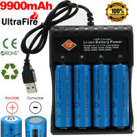 4 X 18650 Battery 3.7v Rechargeable Batteries +4-Slot Charger For Led Flashlight