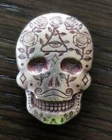 Skeleton Death Cross W// Skulls ~3oz .999 Silver Unique OOAK Skross Locker Mint