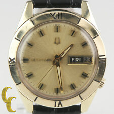 Bulova Accutron 14k Yellow Gold Tuning Fork 218 Day/Date Watch w/ Leather Band