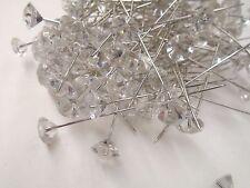 "2.5"" Florist Diamond Gem Pins Wedding Clear Acrylic Bouquet Accent Bling 144 pcs"